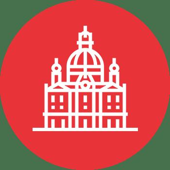 Roter Kreis mit Kirche-Grafik