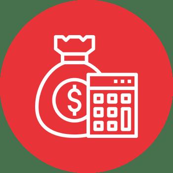 Roter Kreis mit Geldsack und Taschenrechner - Grafik