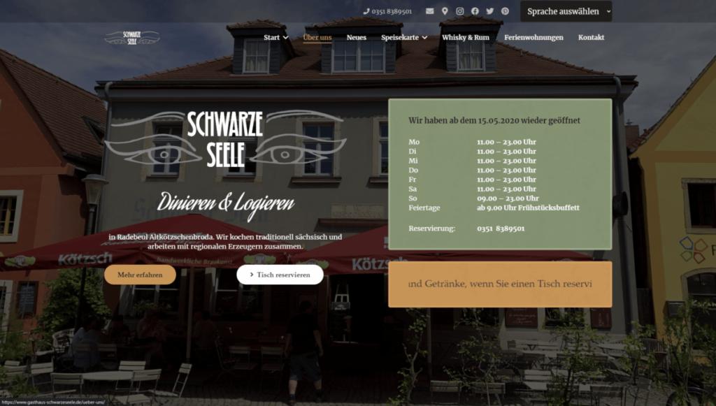 Referenz Gasthaus Schwarze Seele 1 - Webseiten und Webdesign von der Online Marketing Agentur Strg Web