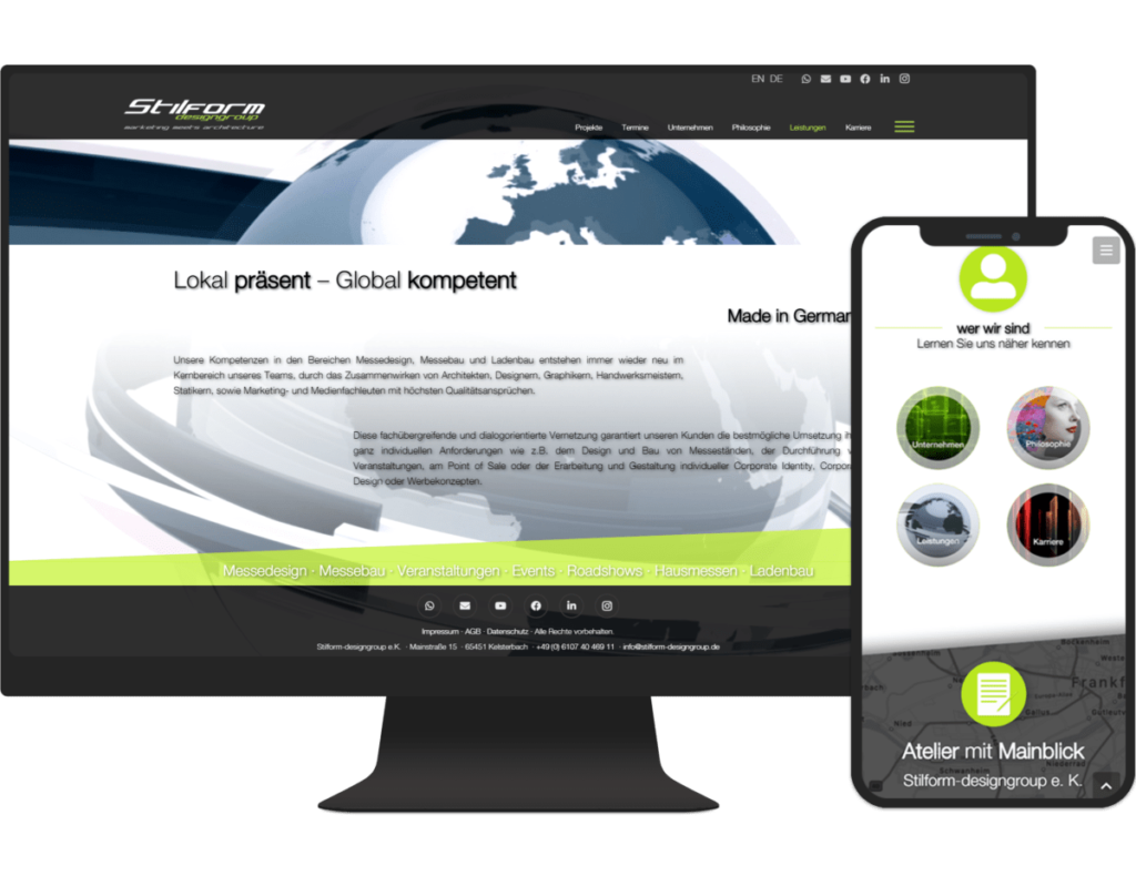 Referenz Stilform-designgroup PC und Smartphone