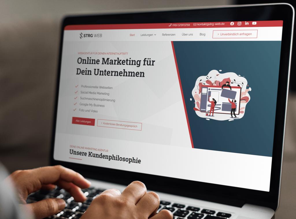 Laptopbildschirm eigene Webseite - Webseiten für Dein Unternehmen von Webagentur Strg Web